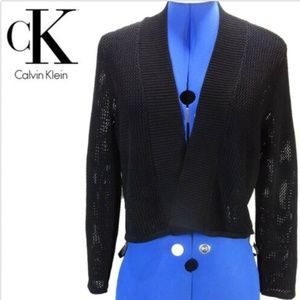 Calvin Klein Black Long Sleeve Open Front Knit SzL